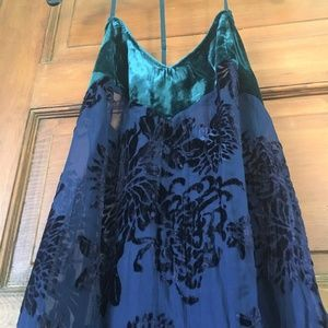 Free People Sheer Blue Maxi Dress, Size S